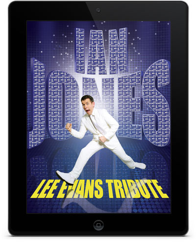 ian jones as lee evans on a blue background